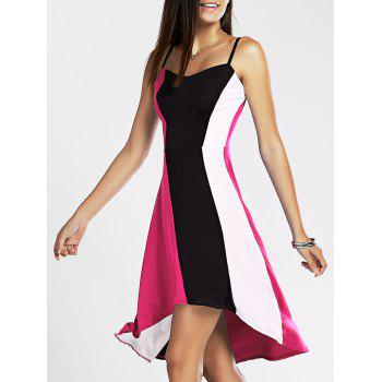 Spaghetti Strap Color Blocks High-Low Summer Dress