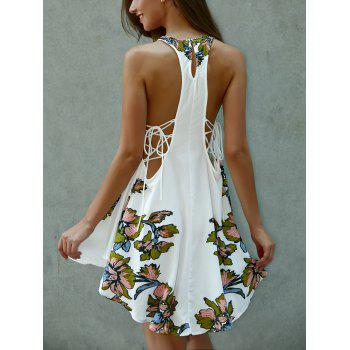 Asymmetrical Scoop Neck Floral Print Lace-Up  Dress