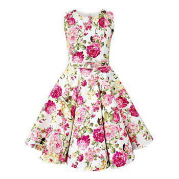 Vintage Sleeveless Floral Print Pin Up Dress