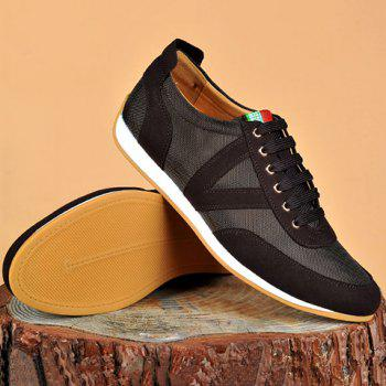 Suede Spliced Breathable Mesh Casual Shoes