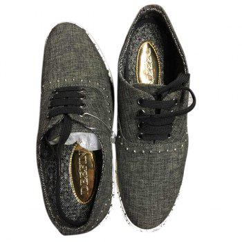 Rivet Linen Lace-Up Casual Shoes