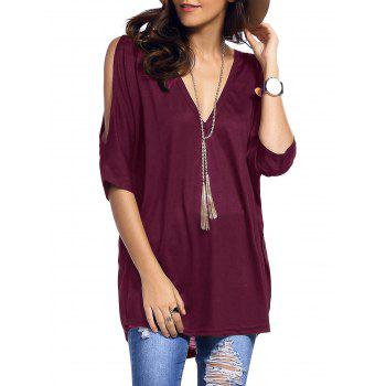 Plunging Neck Cold Shoulder Asymmetrical T-Shirt