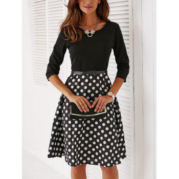 Vintage Belted 3/4 Sleeve Polka Dot Dress - BLACK XL