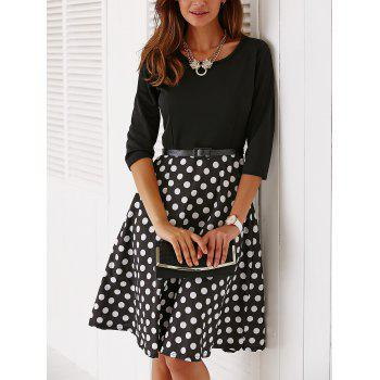Vintage Belted 3/4 Sleeve Polka Dot Dress