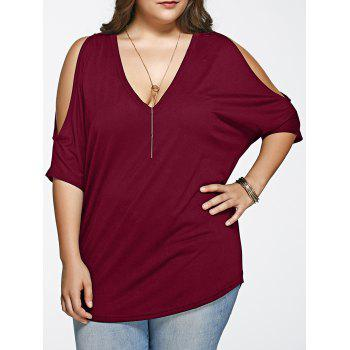 Plus Size Loose Fitting Cold Shoulder T-Shirt