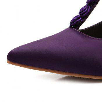 T Bar Satin Flowers Pumps - PURPLE 43