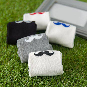 One Set Casual Moustache Pattern Socks -  COLORMIX