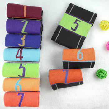 7 Pairs of Casual Number and Stripe Pattern Socks - COLORMIX COLORMIX