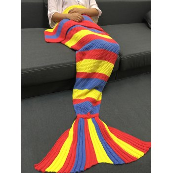 Delicate Colorful Stripe Pattern Knitted Mermaid Design Throw Blanket - COLORMIX COLORMIX