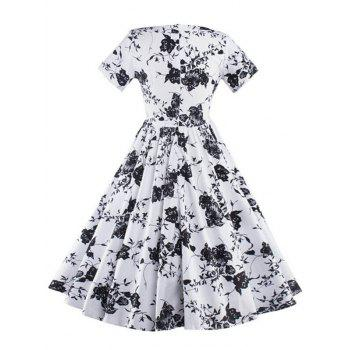 Keyhole Floral Vintage Print Pin Up Dress - Blanc M