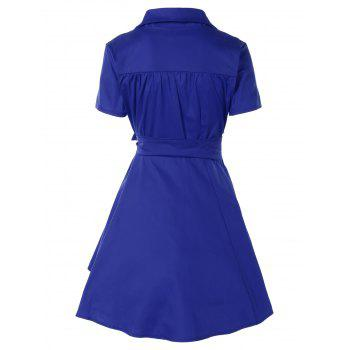 Vintage Bowknot Embellished Swing Dress - DEEP BLUE S
