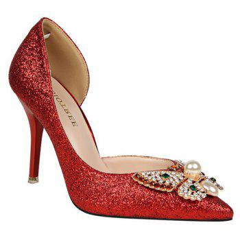 Sequined Butterfly Faux Pearl Pumps - RED 39