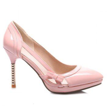 Bow Patent Leather Hollow Out Pumps - PINK 43