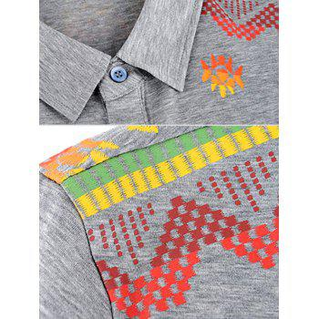 Short Sleeve Turn-Down Collar Abstract Printed Polo Shirt - GRAY L