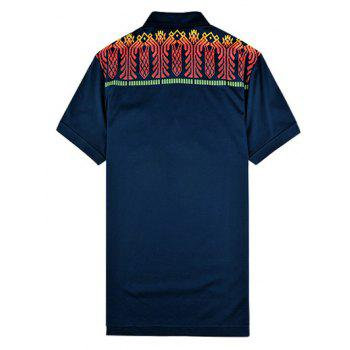 Short Sleeve Turn-Down Collar Abstract Printed Polo Shirt - PURPLISH BLUE M