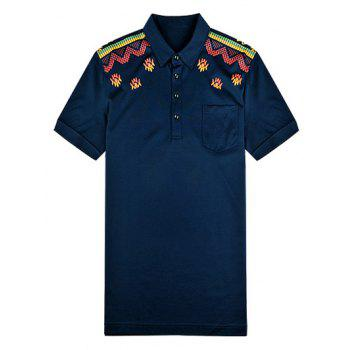 Short Sleeve Turn-Down Collar Abstract Printed Polo Shirt - PURPLISH BLUE XL