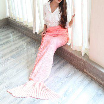 Warmth Braided Decor Knitting Mermaid Tail Style Soft Blanket - PINK