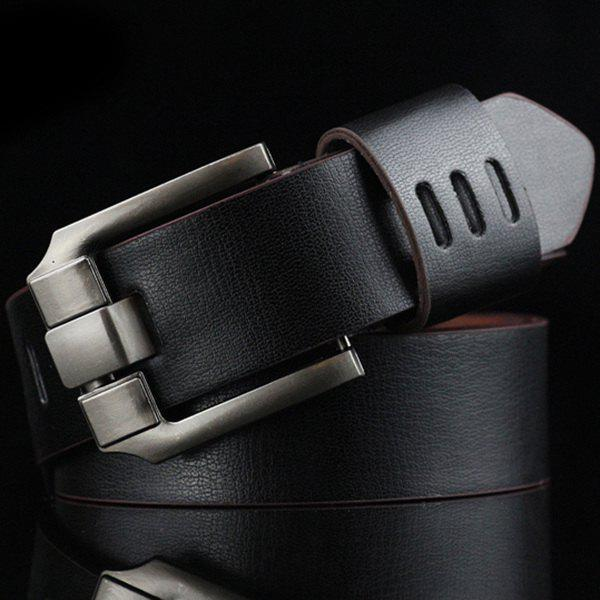Casual Metal Pin Buckle Cut Out Stripy Belt - BLACK