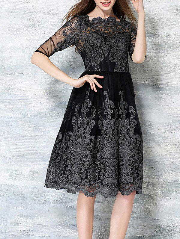 Floral Embroidered High Waist Lace Dress - BLACK 3XL