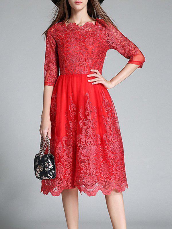 Floral Embroidered High Waist Lace Dress - RED S