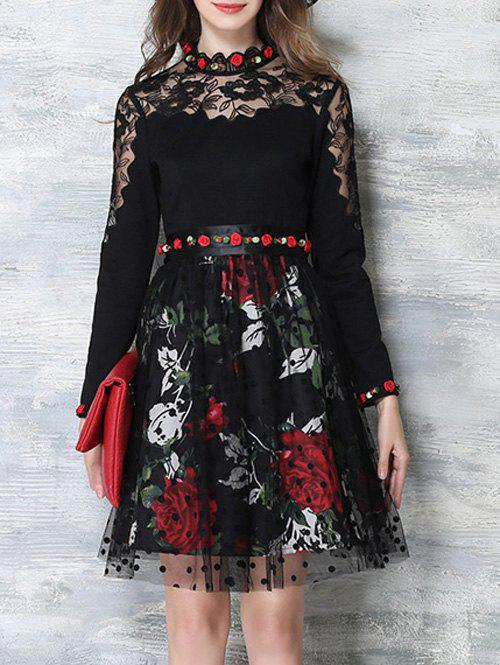 Flower Embroidered Long Sleeves Lace Spliced Dress - BLACK XL