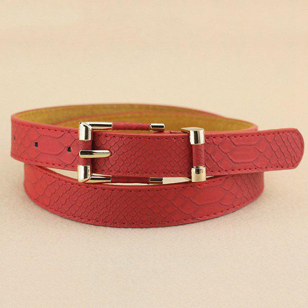 Lady Brief Style Pin Buckle PU Crocodile Belt - RED