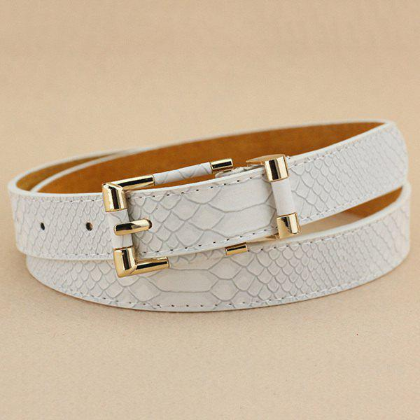 Lady Brief style Pin Buckle PU Crocodile Belt - Blanc