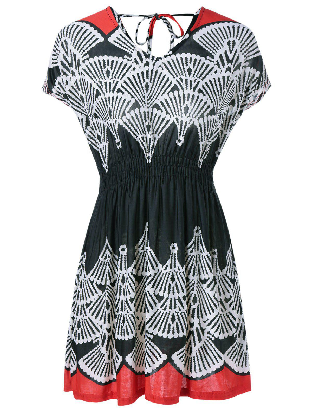 High Waist Tribe Print Cut Out Dress - RED ONE SIZE(FIT SIZE XS TO M)