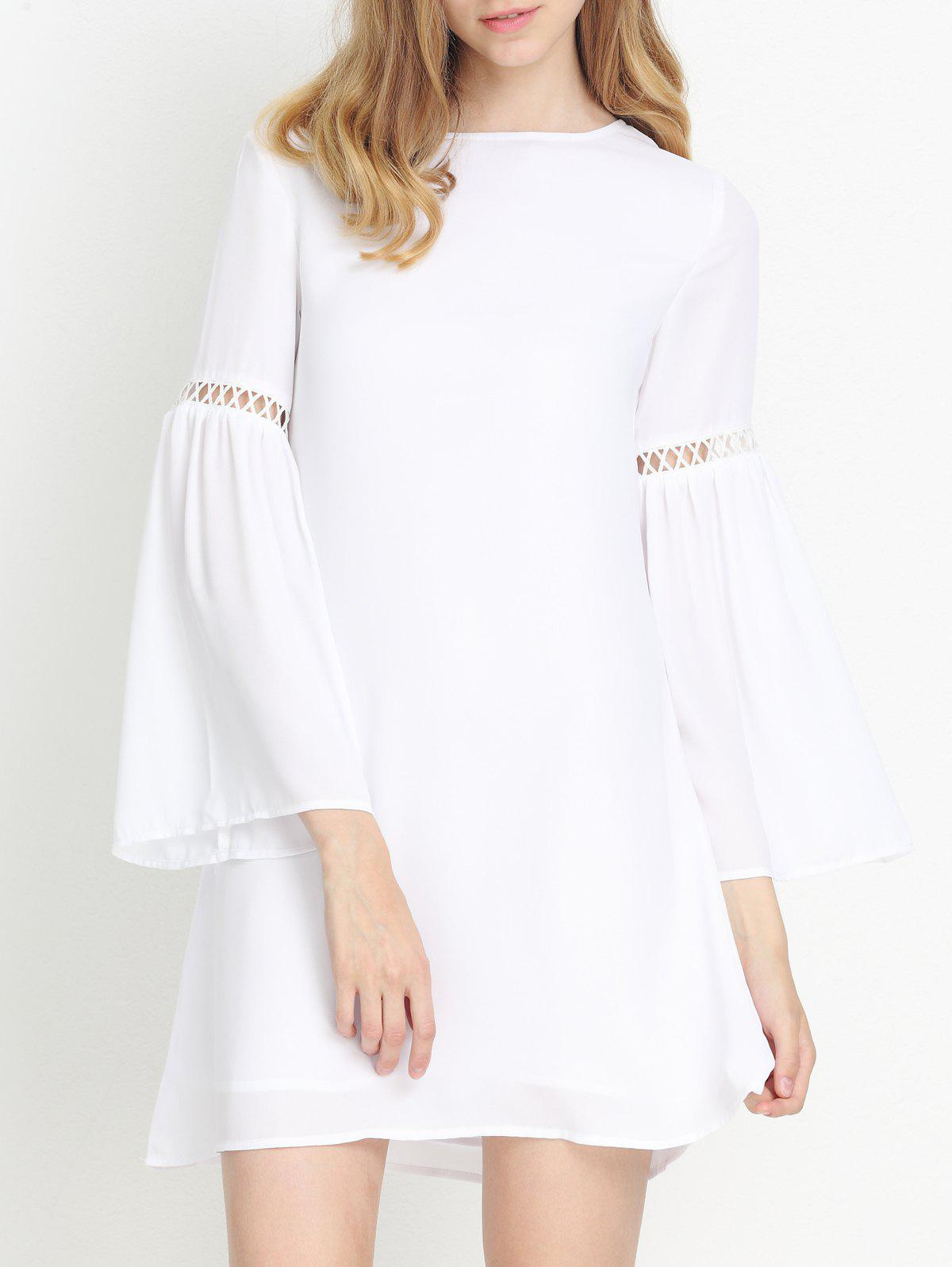 Trumpet Sleeves Hollow Out Backless Dress - WHITE 2XL