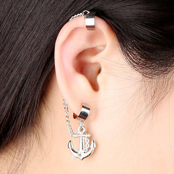 Anchor Chain Tassel Ear Cuff - SILVER