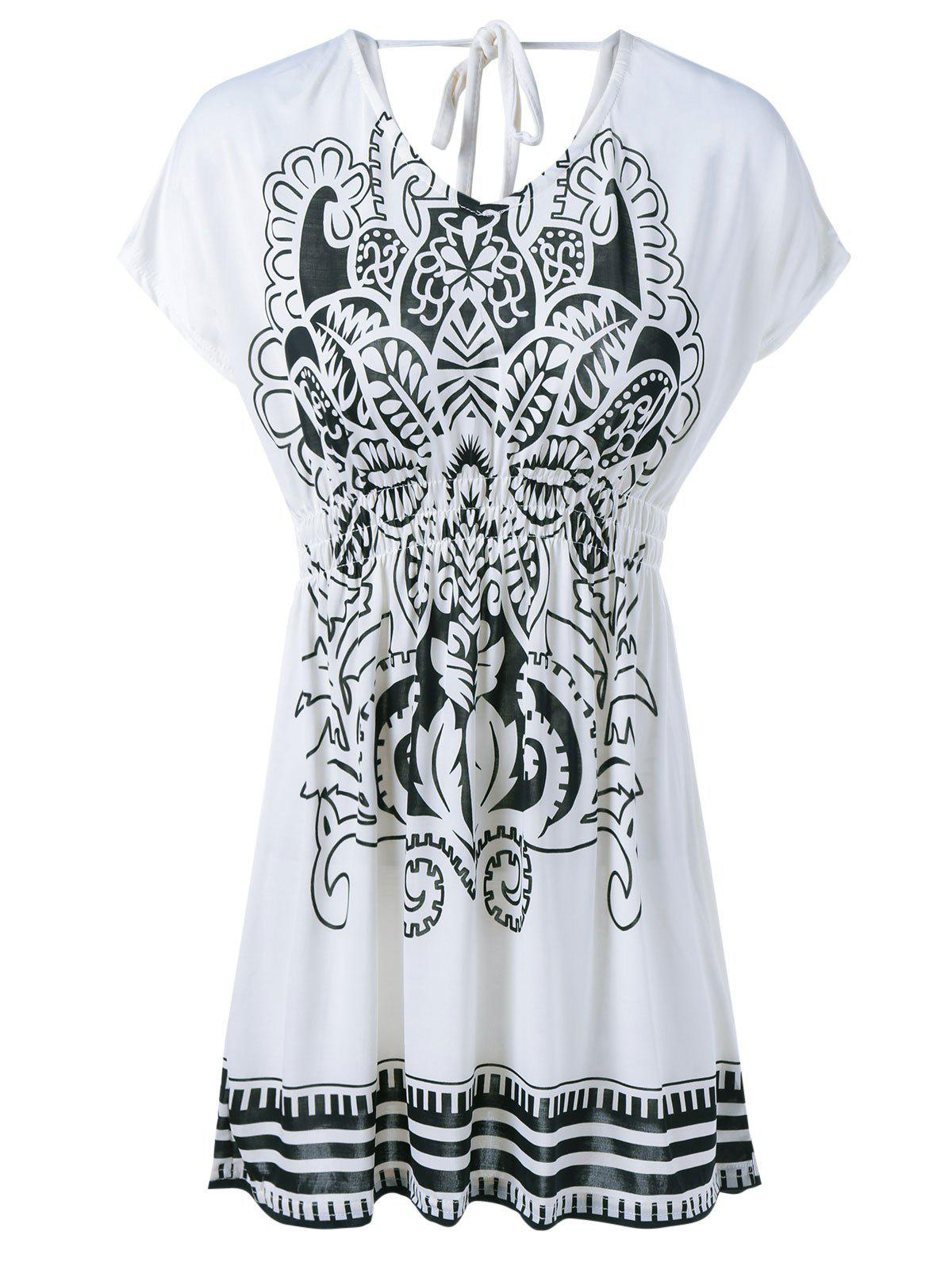 V-Neck Halterneck Elastic Waist Printing Dress - WHITE ONE SIZE(FIT SIZE XS TO M)