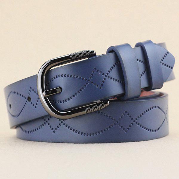 Lady Brief Style Pin Buckle PU Wavy Stripe Rhombus Embossed Belt - BLUE