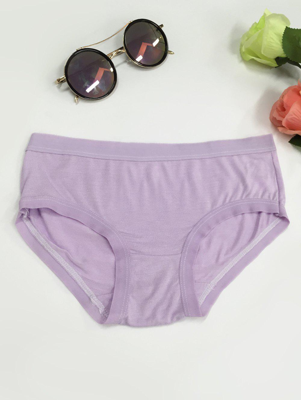 Low-Waisted Plain Briefs - LIGHT PURPLE ONE SIZE