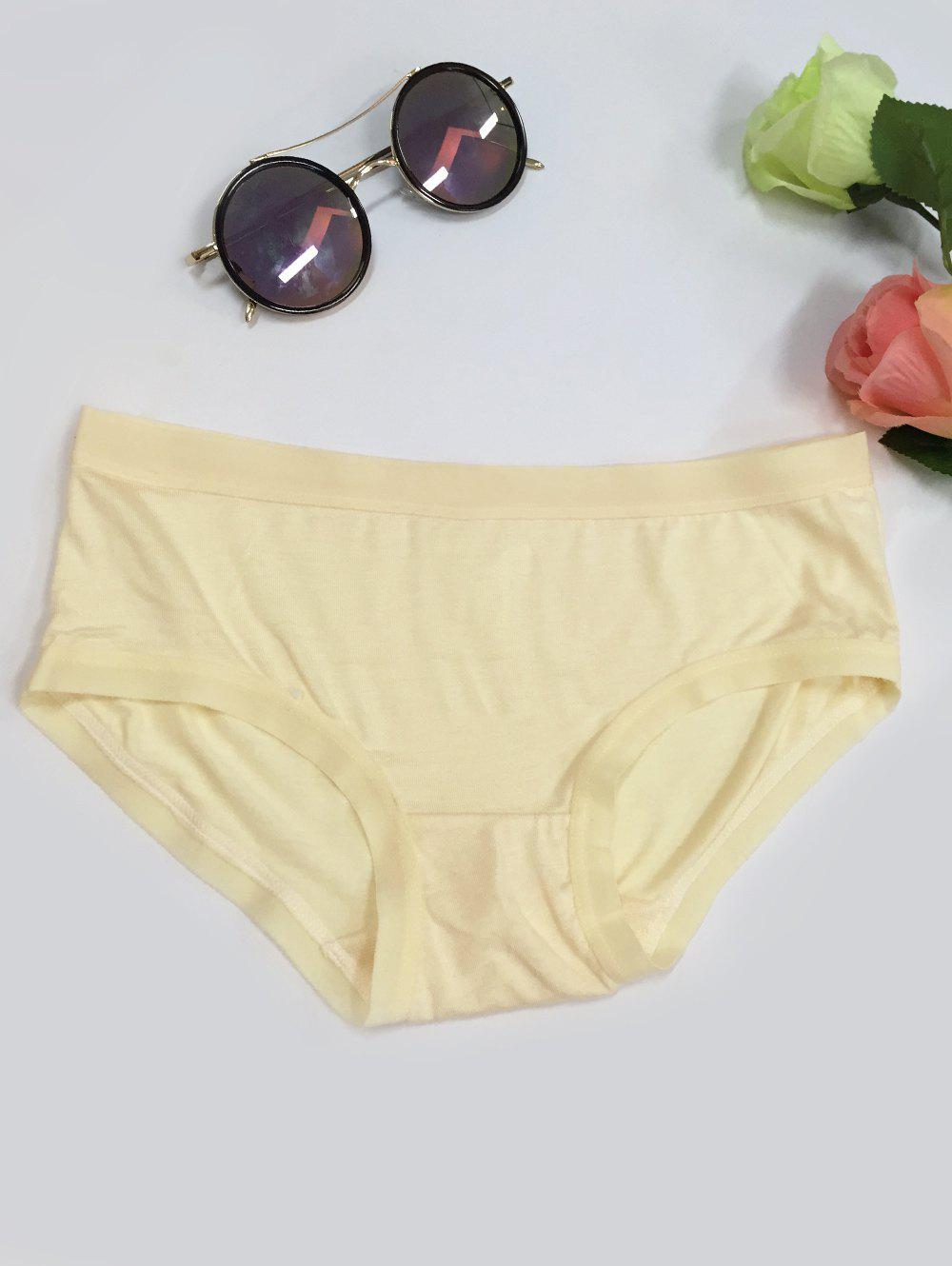 Low-Waisted Plain Briefs - BEIGE ONE SIZE