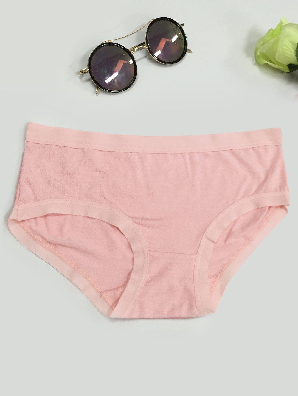 Low-Waisted Plain Briefs - PINK ONE SIZE