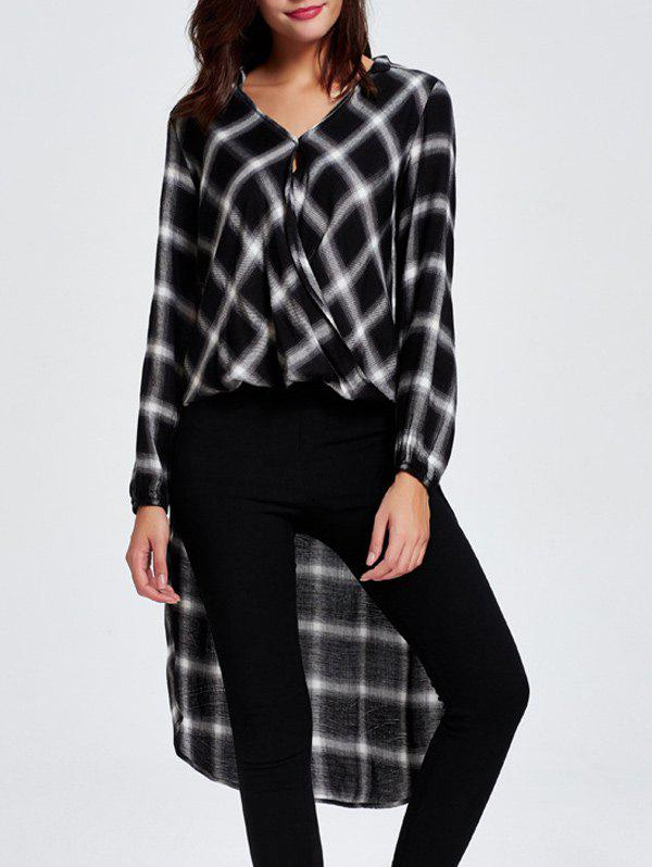 Plaid Slit Asymmetric Shirt - WHITE/BLACK 2XL