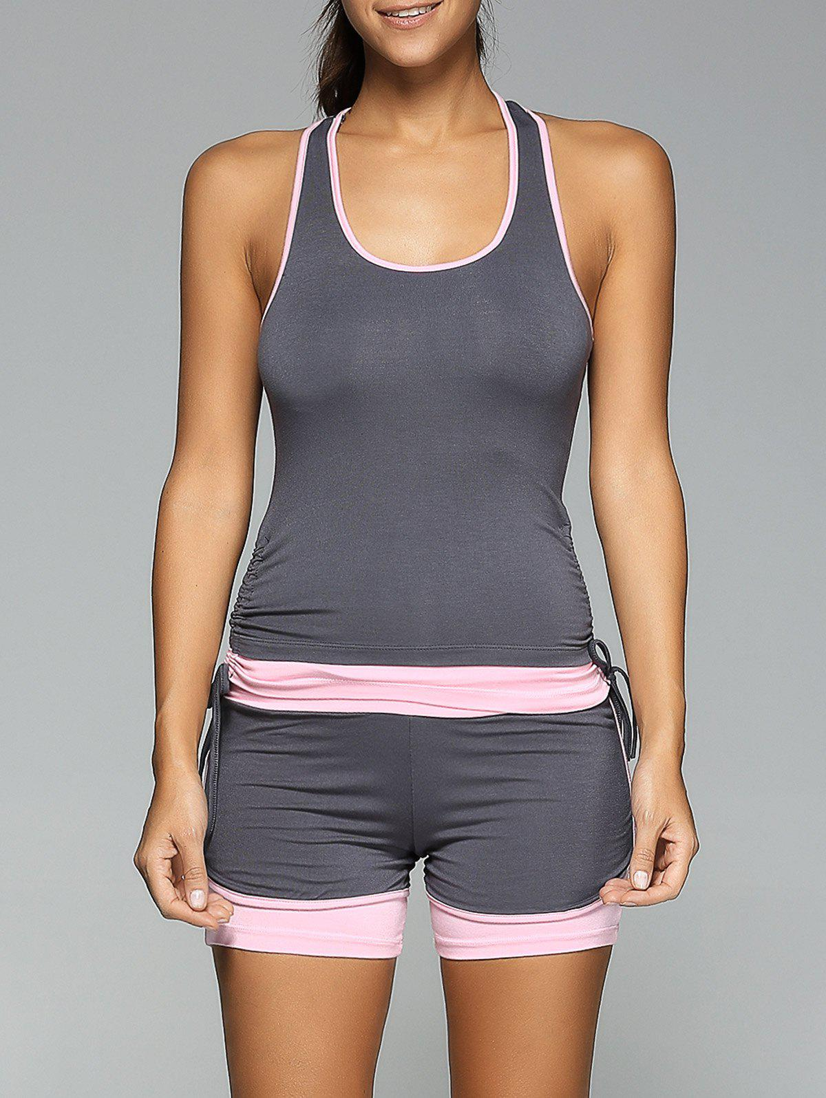 Racerback Side Drawstring Tank Top and Skinny Spliced Shorts Twinset - DEEP GRAY L