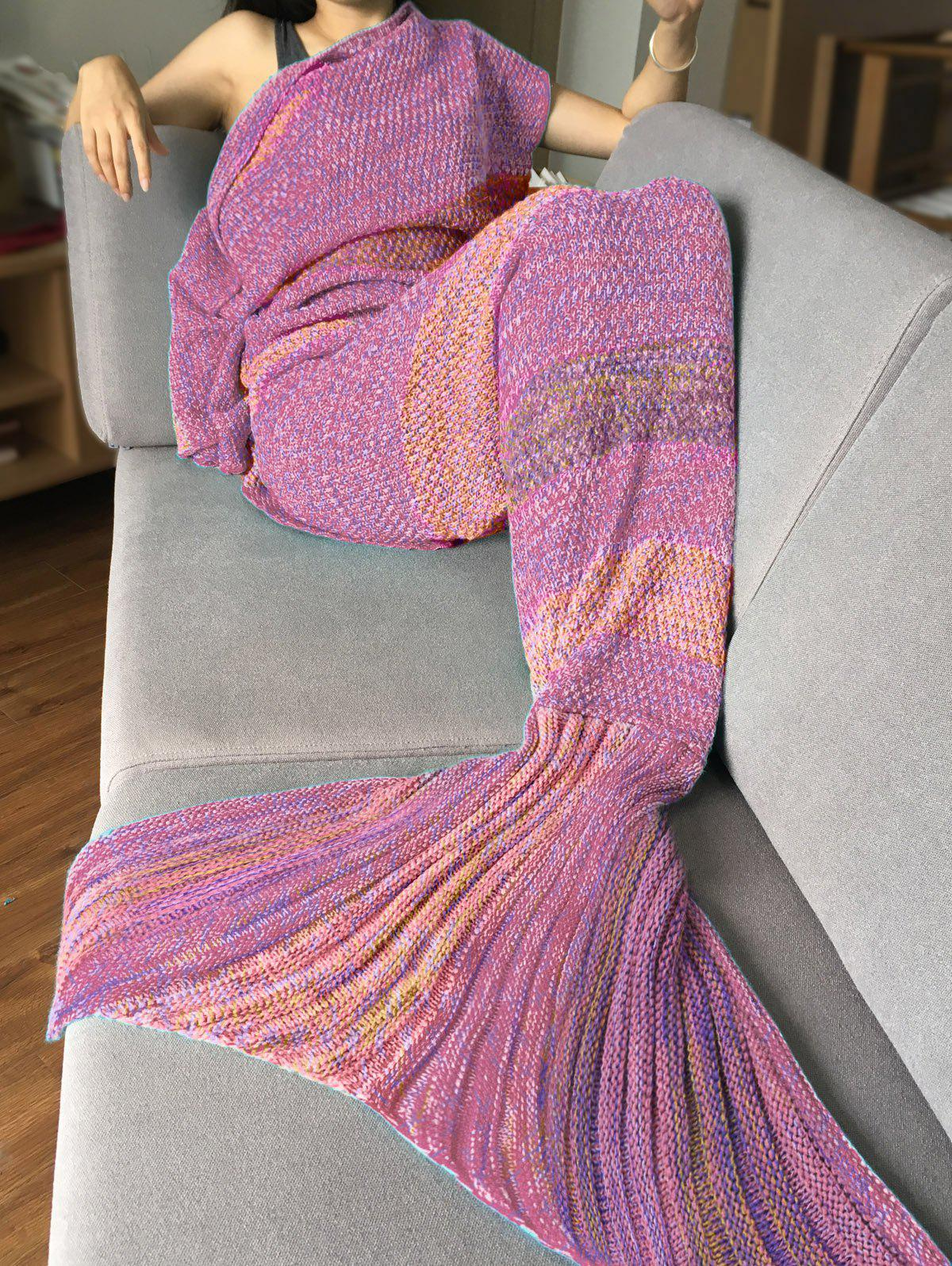 Crochet Stripe Pattern Mermaid Tail Shape Bedding Blanket - PINK