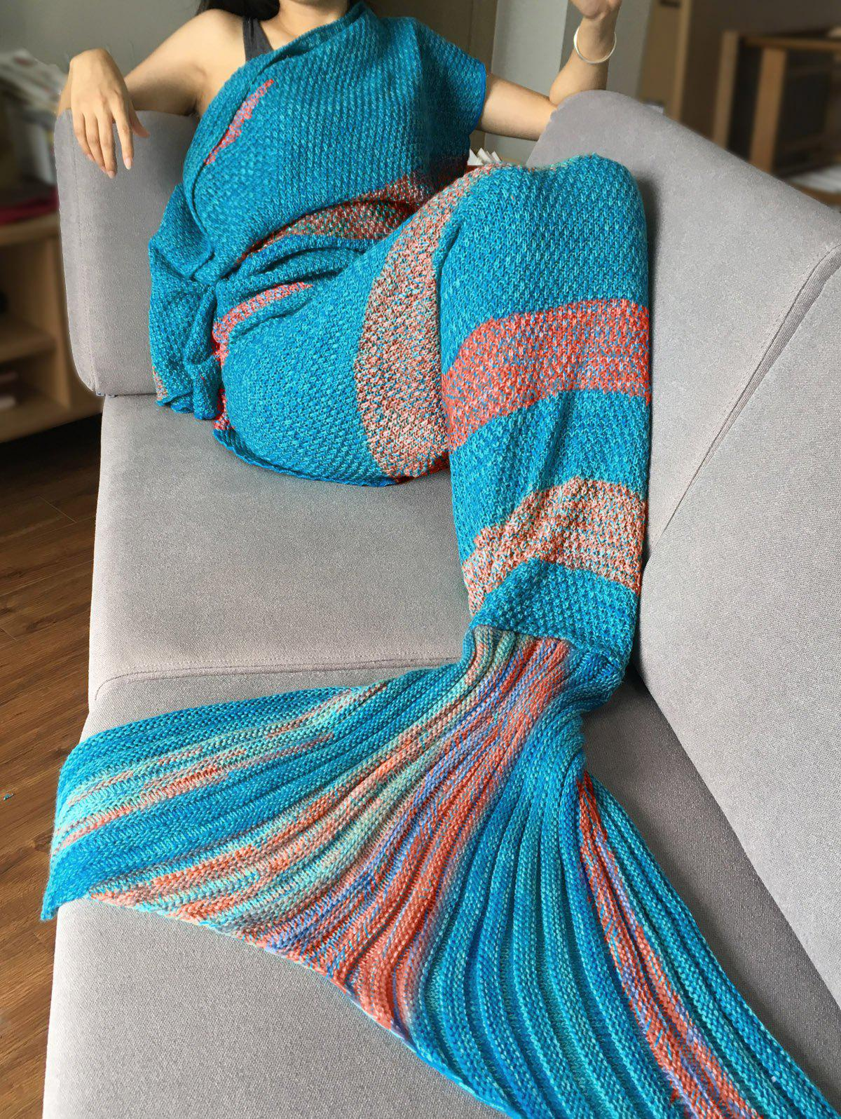 Crochet Stripe Pattern Mermaid Tail Shape Bedding Blanket - CYAN