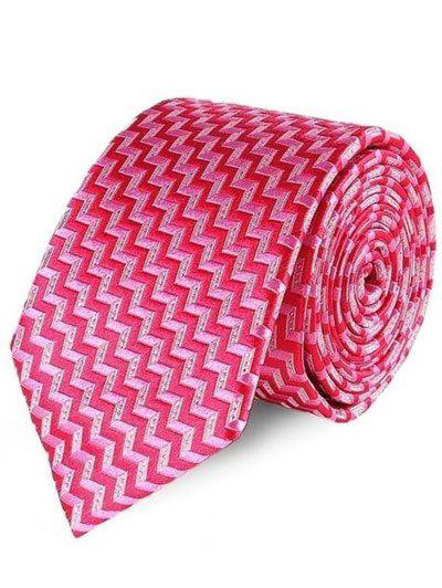 Party Banquet Zigzag Jacquard Tie - ROSE RED