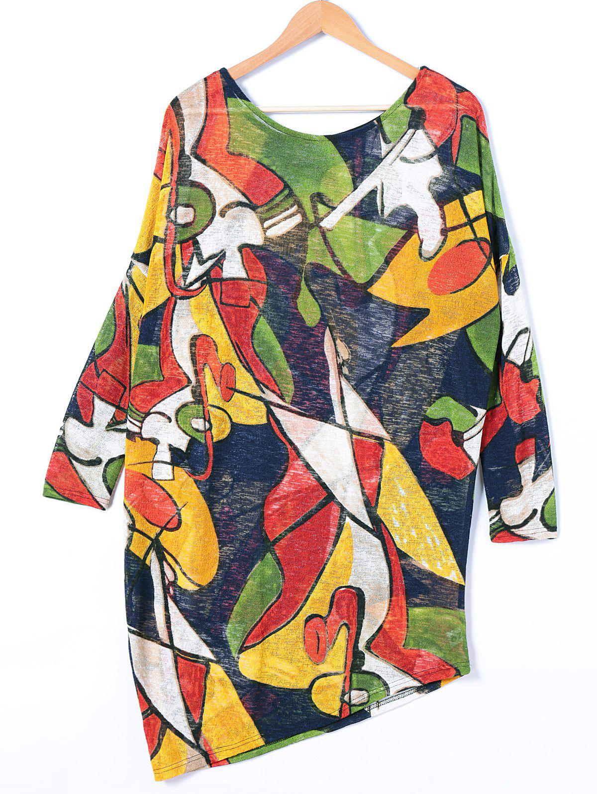 Colorful Geometrical Printed Long Sleeve Dress - COLORMIX ONE SIZE