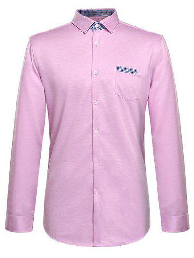 Long Sleeve Turn-Down Collar Plaid Pocket Design Shirt - PINK 3XL