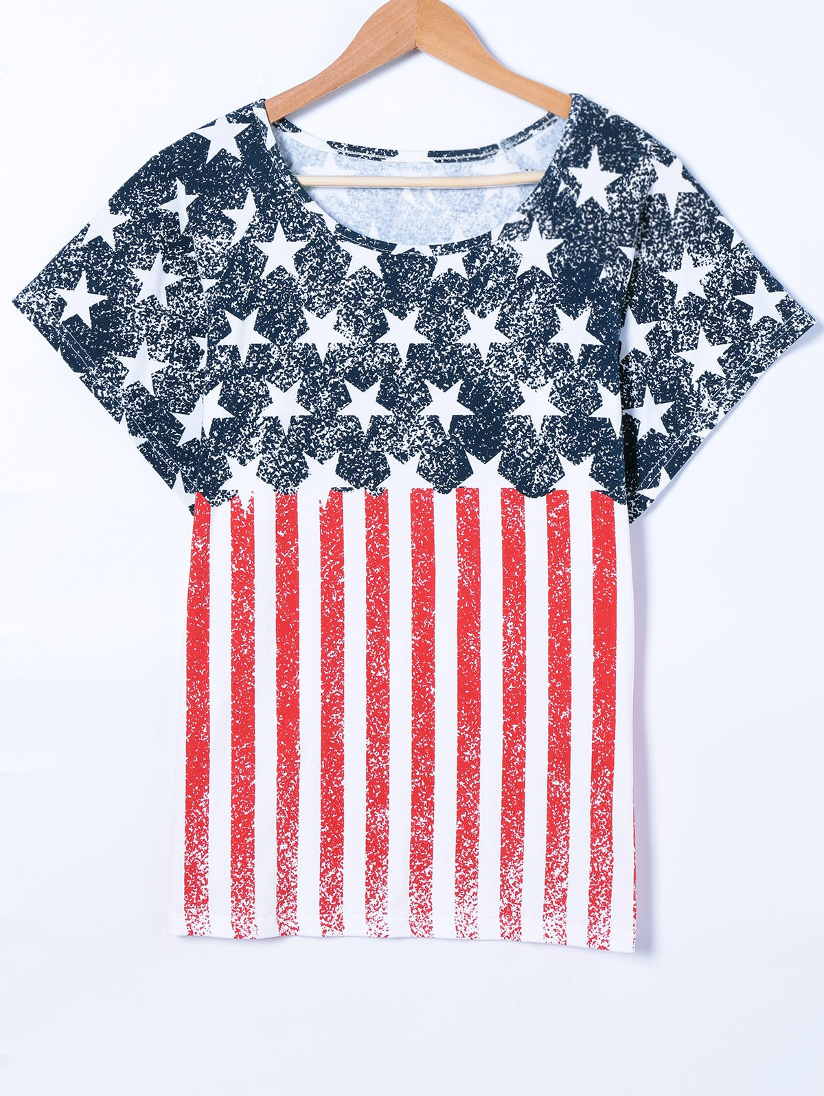Flag Print Batwing Sleeve T-Shirt - RED/WHITE/BLUE M