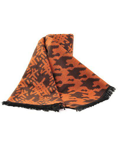 Winter Warm Houndstooth and Weaving Bamboo Basket Pattern Fringed Scarf - ORANGE