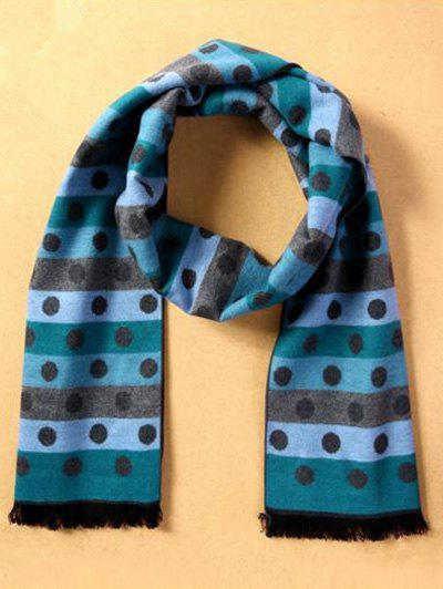 Winter Warm Polka Dot and Stripe Pattern Fringed Scarf - LIGHT BLUE
