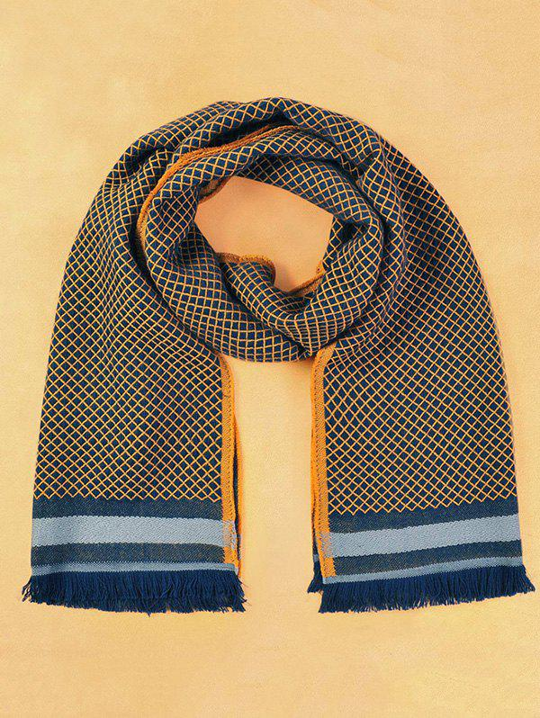 Winter Warm Gingham Pattern Fringed Scarf - CADETBLUE