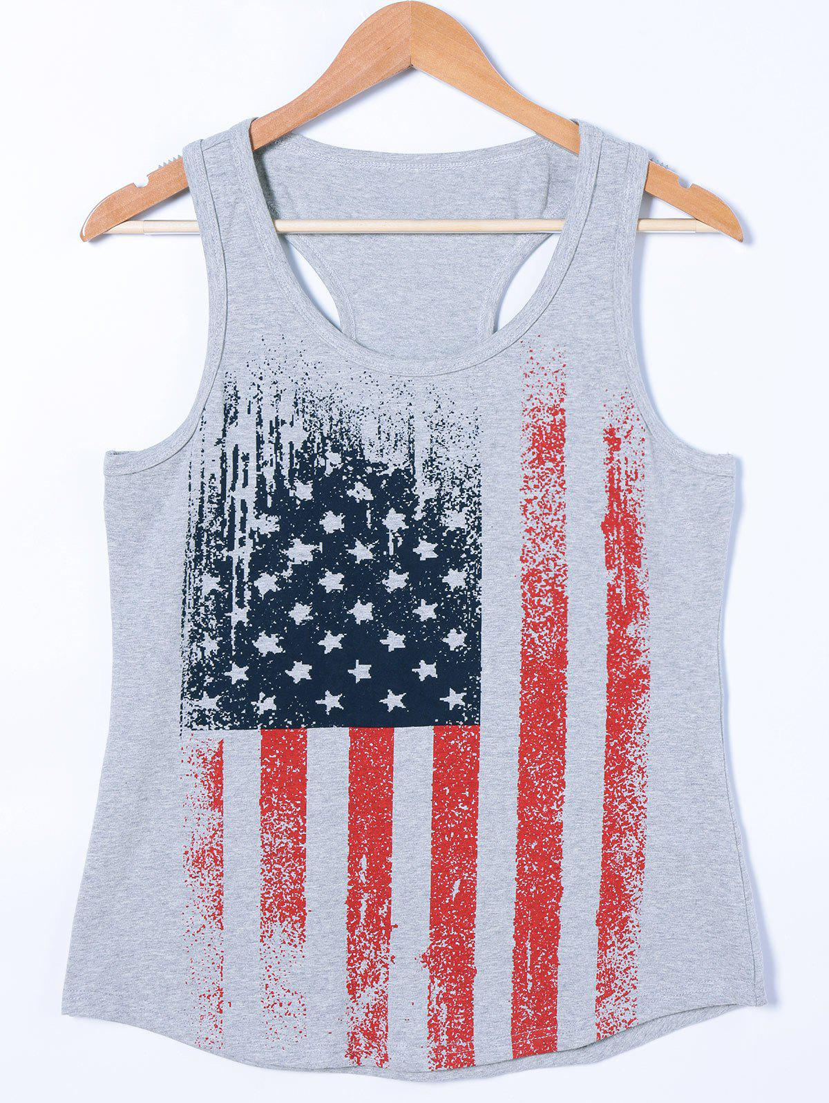 Flag Print Racerback Tank Top - LIGHT GRAY M