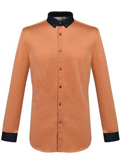 Long Sleeve Button-Down Color Spliced Shirt - ORANGE 3XL