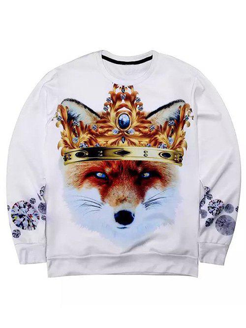 Round Neck Long Sleeve 3D Rhinestone Crown and Fox Print Sweatshirt - WHITE XL