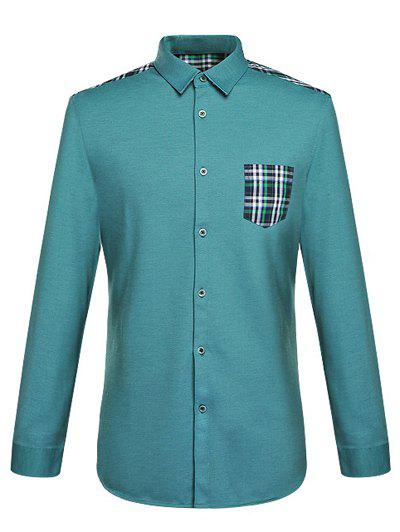 Long Sleeve Pocket Design Spliced Checked Shirt - GREEN 3XL